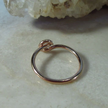 Tiny Hoop Earring Solid 14k Rose Gold Plain Single