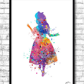 Alice Wonderland Watercolor Print llustrations Kid's Room Wall Poster Giclee Wall Decor Home Decor Wall Hanging Disney art Alice print Gift