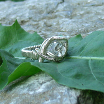 Wire Wrap Ring Herkimer Diamond 925 Sterling Silver Size 9.5 Handmade Heady Jewelry