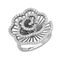 .925 Sterling Silver Rhodium Plated Pave Set Open Flower Ring