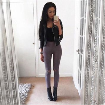 Summer style 2017 hole gray ripped jeans Women jeggings cool denim high waist pants capris Female skinny brown casual jeans