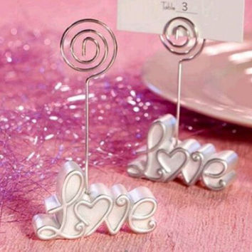 Hot Sale Wedding Supply Table Number Menu Seating Place Card Exquisite Love Clip Low Price Wedding Centerpieces Obsequios Boda