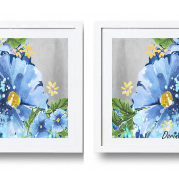 Large Navy Blue Gray Yellow Watercolor Flower Wall Art Print Set Of 2 16x20 8x10 Bedroom