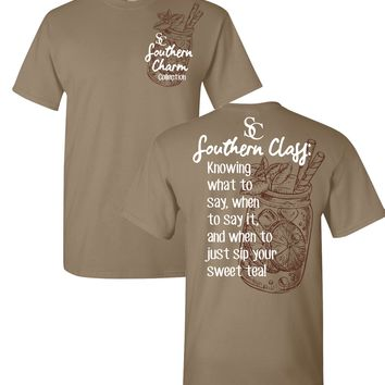 Southern Class Sweet Tea Southern Charm Collection on a Light Brown Shirt