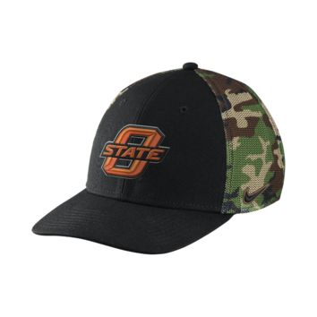 Nike Camo Hook True Swoosh Flex (Oklahoma State) Fitted Hat Size FLX