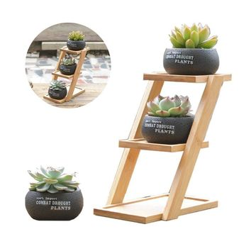 Succulent Gardening Planter Pot,3 in1 Round Decorative Flower Pot/Container/Flower Holder Bowl with Potted Garden Patio Display Plant Rack Flower Stand