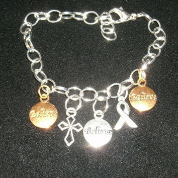 Inspirational  Custom Charm Bracelet-  chain link with awareness/cancer  ribbon charms, believe,example of custom charms, others available