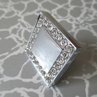 Glass Crystal Cabinet Knobs Pulls Handle Square Silver Clear / Modern Dresser Drawer Knobs Pulls Handles / Kitchen Knob Pull Hardware 116