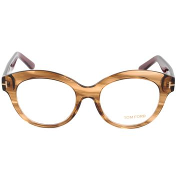 Tom Ford FT5377 48 Round | Brown/Burgundy| Eyeglass Frames