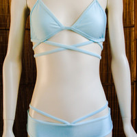 Strappy Bikini Top in Light Blue -- Small-Medium-Large
