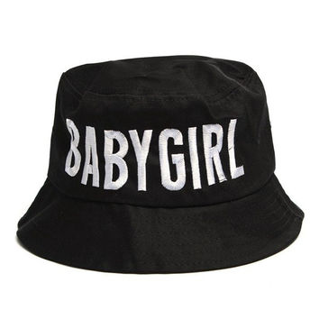 BABYGIRL Style Women's Boonie Fishing Bucket Hat Letters Casual Outdoor Cap