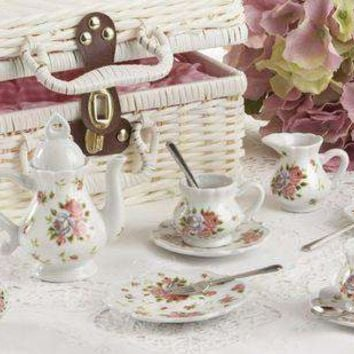 Childrens Porcelain Girls Tea Set- Dainty Sue Wicker Style Basket - FREE TEA INCLUDED!