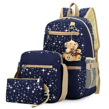 HUIMENG Sets Backpack Women's School Bag Book Bag For Teenager Canvas Stars Prints Dot Cute Bear Pendent Fashion Satchel Mochila