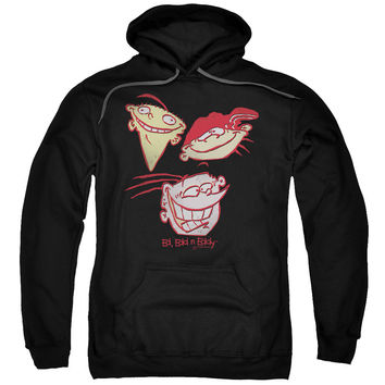 ED EDD EDDY/THREE HEADS-ADULT PULL-OVER HOODIE-BLACK