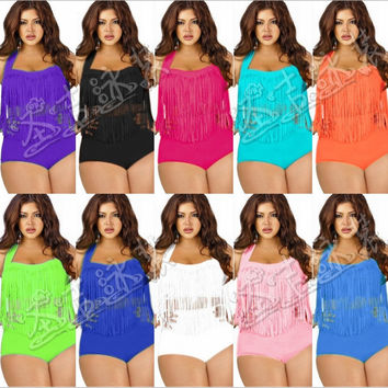 Womens Lovely Plus Size Stylish Fringe Bikini Swimsuit