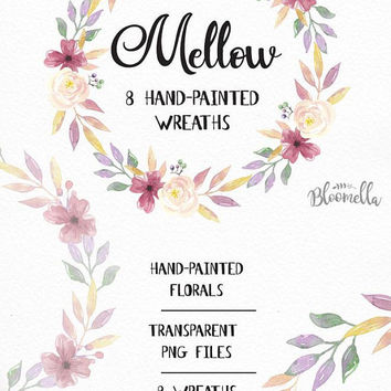 8 Watercolour Mellow Pretty Wreaths Clipart Leaves Hand-painted Garlands Clip Art INSTANT DOWNLOAD Summer Spring Purple PNGs Digital Leaf