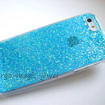 cover case fits iPhone, models,Real GLITTER,blue,sparkle,sparkly,glitter,gift,
