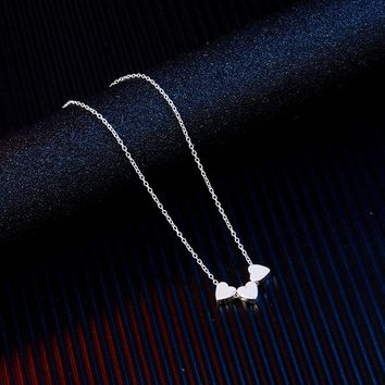 SUKI Simple Trendy Silver Chain Three Heart Pendant Necklace Fashion Women Lovely Valentine Gift Statement Necklace Jewelry