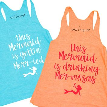 Mermaid Gettin' Merr-ied / Mermaid Drinking Mer-mosas Tank