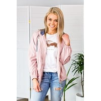 Striped Detail Jacket-Pink
