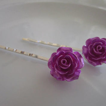 Purple Lilac Rose Bobby Pins - Wedding Hair Clip - Bridal Hair Clips - Large Purple Lilac Rose Flower Bobby Pins - Roses for Hair - Wedding