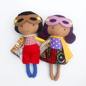 "RAG DOLLS, dolls, fabric dolls, afro american dolls, doll pair, twin dolls, soft toys, dress up dolls, superheroes, soft dolls, 19""/50cm"