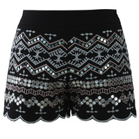 Sequins Embellished Shorts in Black Black
