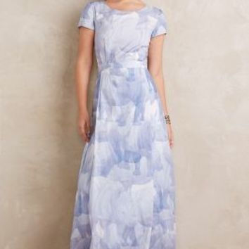 Anne Gorke Rhina Maxi Dress in Blue Motif Size: