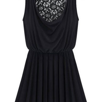 Black Semi Sheer Cowl Neck Lace Back Pleated Dress