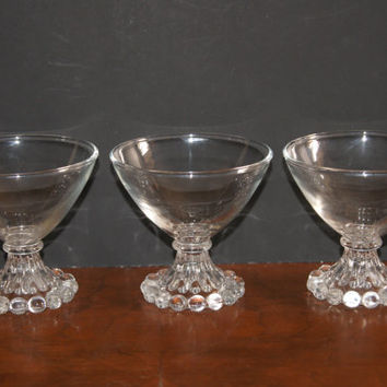 Lot OF 3 Vintage Crystal BOOPIE Pattern Sherbets By Anchor Hocking Glass Circa 1950s