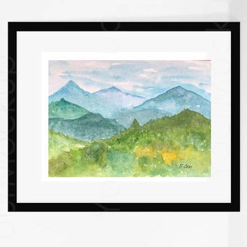 Original watercolor painting, mountain landscape, smoky mountain artwork, abstract mountains, impressionist art,  Blue and green art