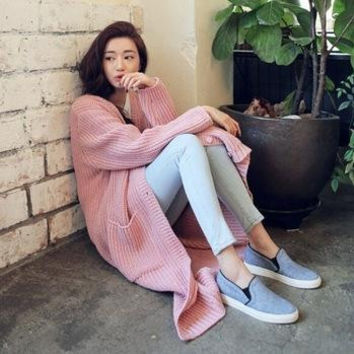 HOT SALE Winter Autumn Coat Casual Plain Knitted Long Maxi Cardigan Hollow Oversize Tricotado Sweater Dress Slim Knitwear 8965