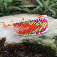 silver & white swarovski on orange bracelet, Hot friendship bracelet, women bracelet, orange, green, pink and white colors