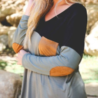 Color Block Top with Suede Detail