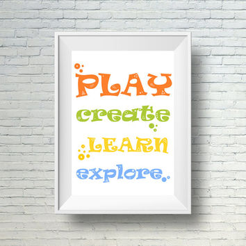 Playroom Decor, Printable Kids Wall Art, Childrens Art Print, Play, Create, Learn Playroom Print, Instant Download Kids Art, Nursery decor