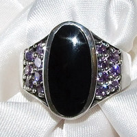 Vintage Black Onyx and Pave Purple Sapphires Sterling Silver Cigar Band Ring, Bezel Oval Onyx, Purple Gemstones, Wide Band Ring. SIZE 9