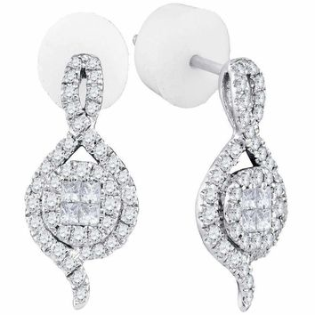 14kt White Gold Women's Princess Round Diamond Soleil Spade Cluster Earrings 1-2 Cttw - FREE Shipping (USA/CAN)