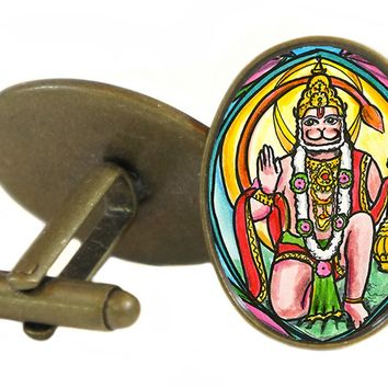 "Lord Hanuman Humanitarian Evolved Path 1"" Oval Pair of Cufflinks"