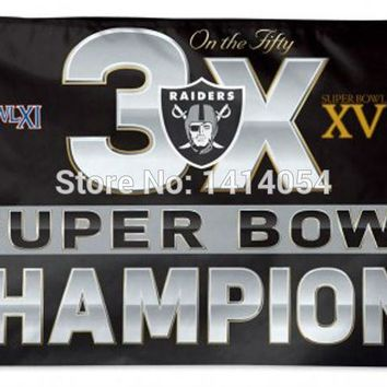 Oakland Raiders Super Bowl  3X Champions flag  150X90CM Banner 100D Polyester3x5 FT flag brass grommets 001, free shipping