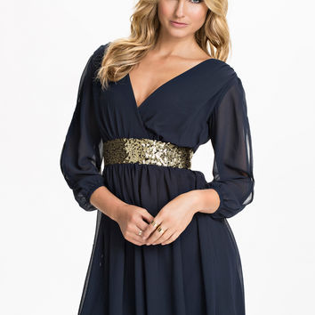 Navy Blue V-neck Mesh Long Sleeve Belted A-Line Pleated Mini Dress