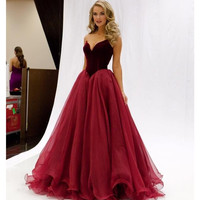 Custom Made Elegant Floor Length Plus Size Prom Dress With Tulle Sweetheart Off The Shoulder Red Wine Prom Dresses 2016