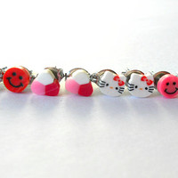 Childrens Pink and Red Earrings Set // Hello Kitty Character Earrings