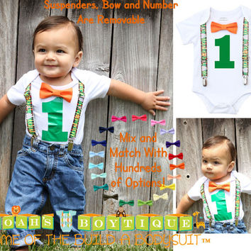 Jungle Birthday Party Outfit - Jungle Birthday Shirt - Safari Birthday - Jungle Theme Birthday - First Birthday Outfit Boy - Monkey - Lion