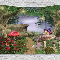 Mushroom Forest Fabric Wall Tapestry