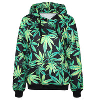 Harajuku Hoodies Pullovers Print Weeds Green Leaves  Sweatshirt With Pockets