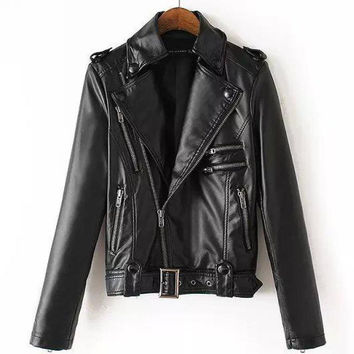 Fashion Style 8 Zippers Autumn New Women's Leather Biker Jacket Womens Genuine Leather Coats Crazy Motorcycle Jacket