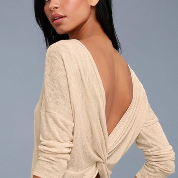 Ventura Heather Beige Knotted Reversible Sweater Top