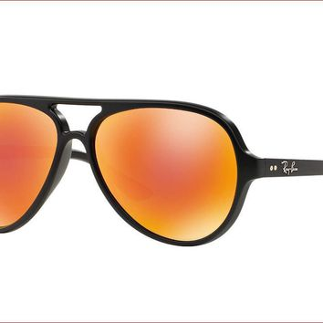Ray Ban Cats 5000 Sunglasses RB4125 601-S/69 Matte Black W/ Red Flash Mirrored