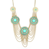 Mint Rhinestone Rosette Necklace on Luulla