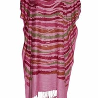 Mogul Interior Women's Caftan Tassel Fringe Pink Printed Beach Cover Up Caftan OneSize: Amazon.ca: Clothing & Accessories